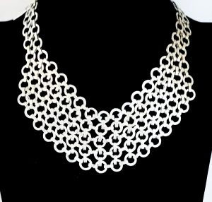 Pewter bib necklace